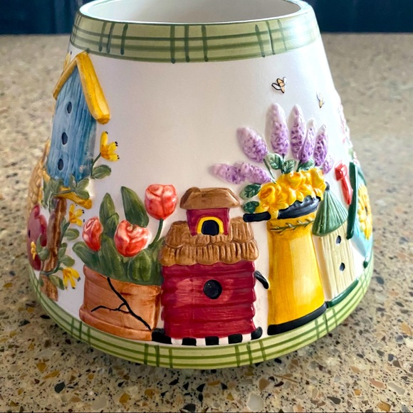 Yankee Candle Jar Shade Topper, birdhouse flowers